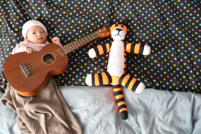 Just chilling with her friend Hobbes