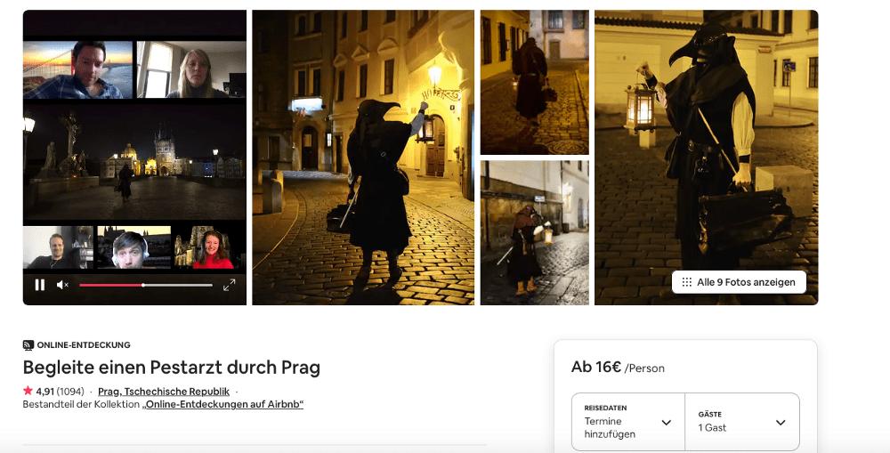 Mit dem Pestarzt durch Prag, was für eine grandiose, edukative Idee in Zeiten von Corona… (Screenshot: AirBnB)
