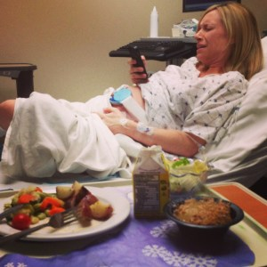 Adrian eating while Jen has contractions