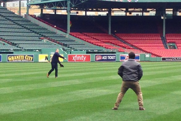 Jay tossing balls at Fenway