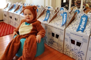 Mason sitting with BAB boxes