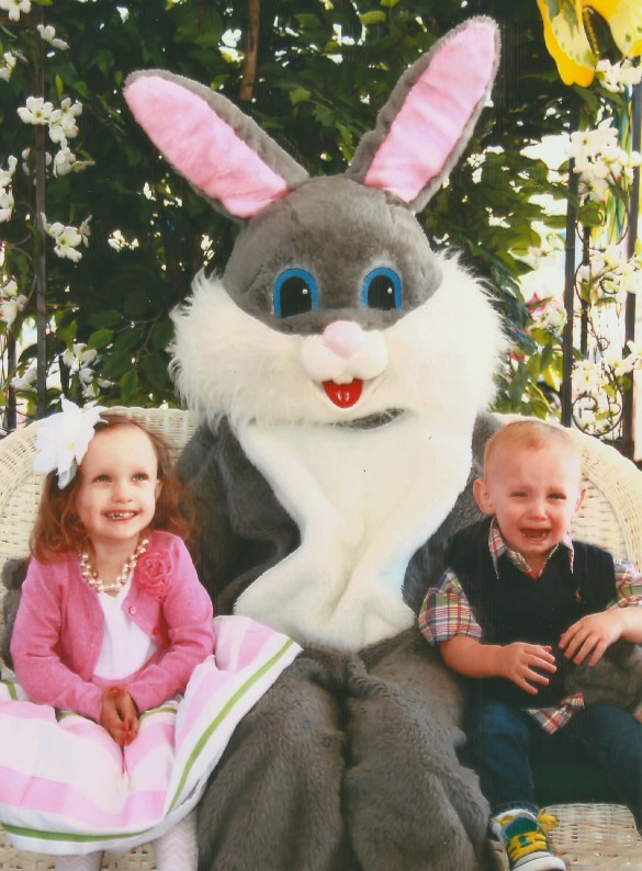 Ava and Charlie w Easter Bunny
