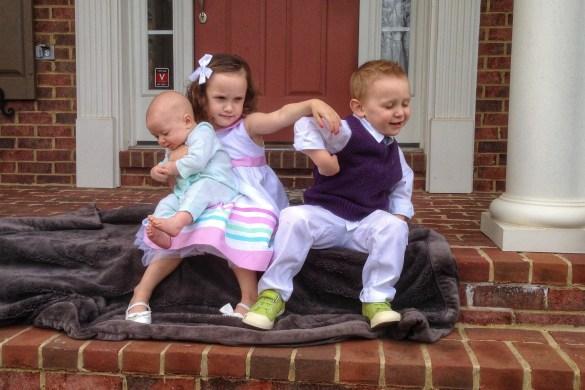Kulp kids fighting in Easter photo