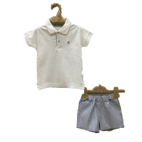 Eve Children conjunto bermuda rayas y polo blanco