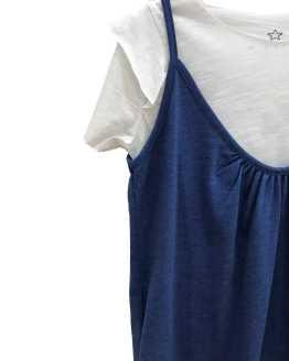 Mía y Lía mono azul jean con camiseta blanca