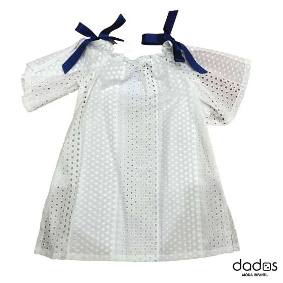Foque vestido blanco perforado colección Santorini