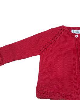 Marta y Paula chaqueta roja calada en sisa detalle