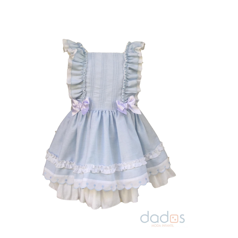 ad136e9a74 Dolce Petit vestido celeste con lazos blancos - Dados moda infantil