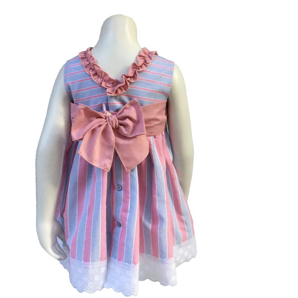 Dolce Petit vestido rayas azules y rosas espalda