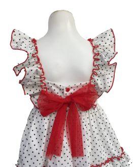 Espalda Mon Petit Bonbon vestido topos con lazo rojo
