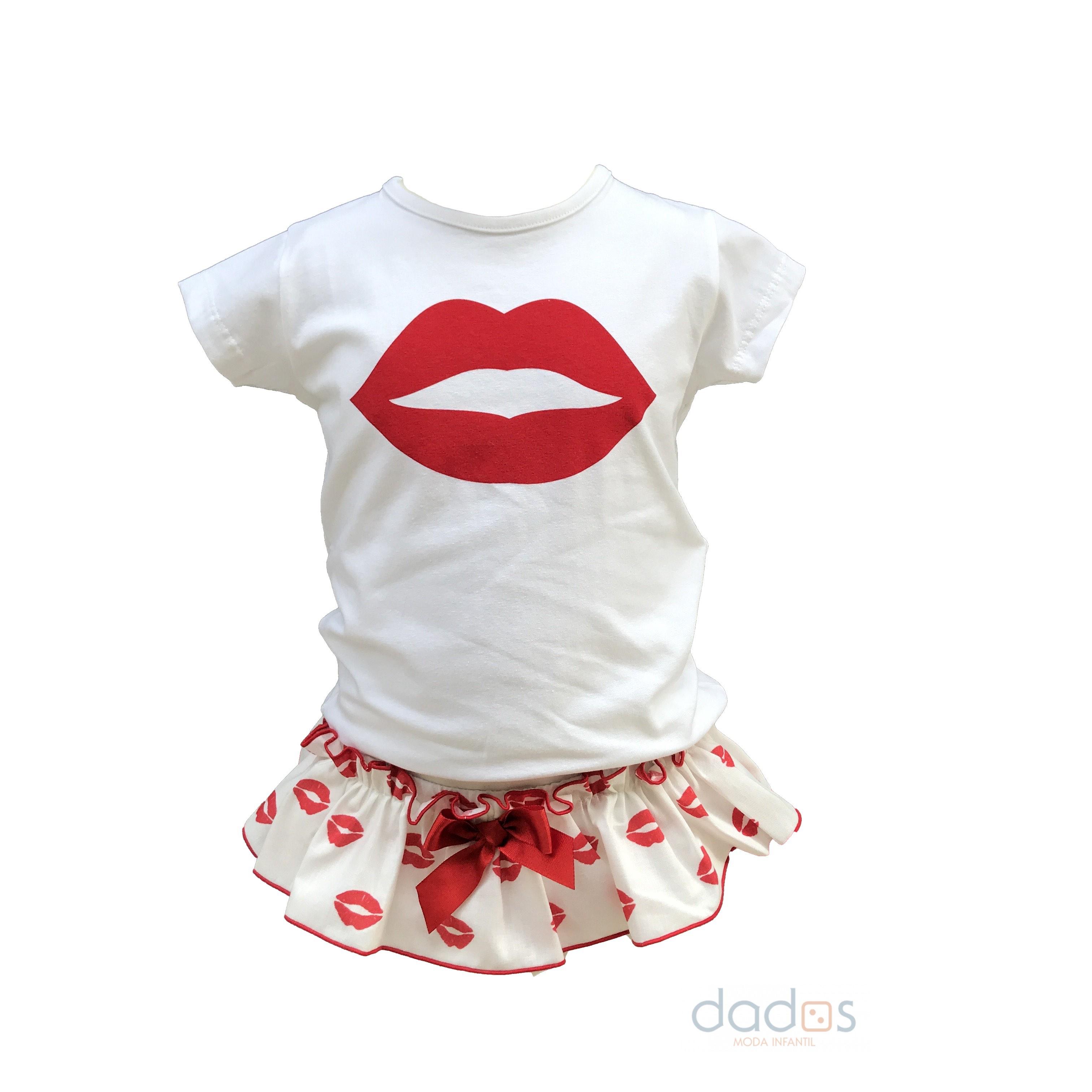 471f933b0 Mon Petit Bonbon conjunto labios cubre y camiseta - Dados moda infantil