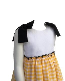 Mon Petit Bonbon vestido cuadros amarillos detalle