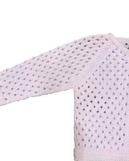 Marta y Paula chaqueta rosa calada detalle