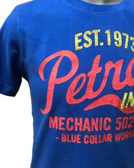 Detalle PETROL camiseta azulona