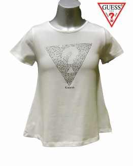 GUESS camiseta blanca interrogante cristales