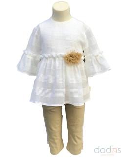 Tutto Piccolo conjunto pantalón y blusa blanca