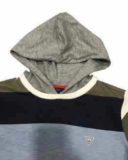 Detalle Guess camiseta chico rayas con capucha
