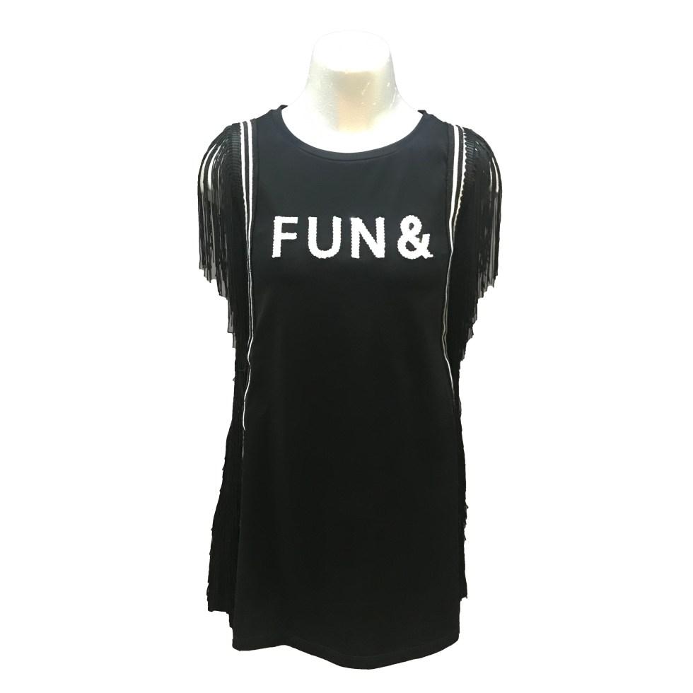 Fun&Fun vestido negro con flecos