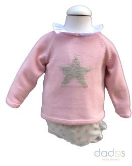 Marta y Paula picolino rosa empolvado braga y jersey estrellas