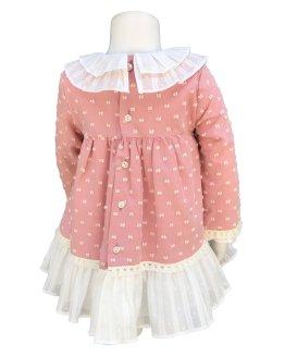 Espalda Marta y Paula colección Cigüeña vestido bebé Rosa
