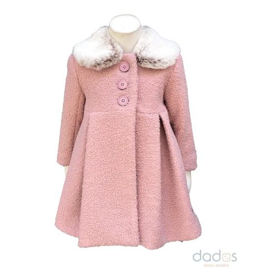 Marta y Paula abrigo rosa cuello de pelo