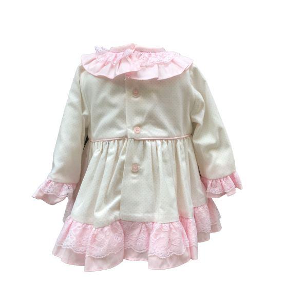 Espalda Dolce Petit jesusito blanco y rosa con lazo