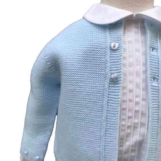 detlle chaqueta Dolce Petit bebé conjunto celeste 3 piezas