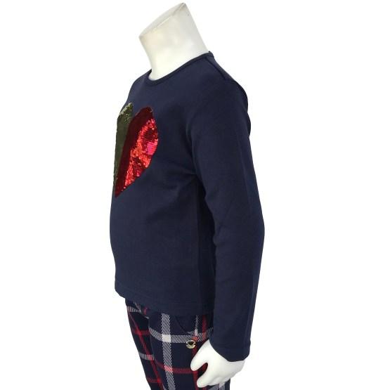 IDO conjunto legging cuadros y camiseta corazón detalle
