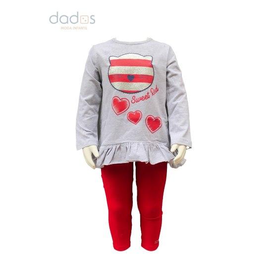 IDO conjunto bebé legging y camiseta osos y corazones