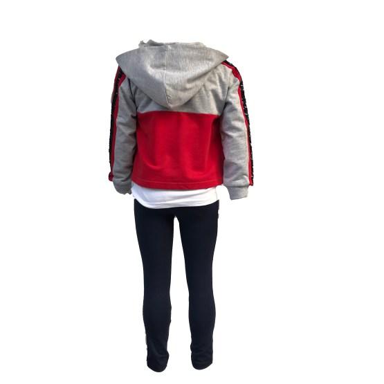 IDO conjunto 3 piezas gris y rojo espalda