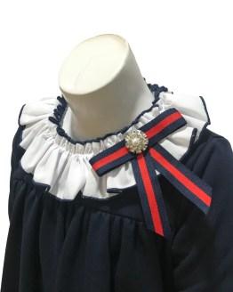 Mon Petit Bonbon vestido azul marino pelo en puños detalle