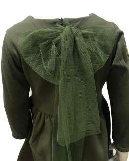 Espalda Mon Petit Bonbon vestido verde militar