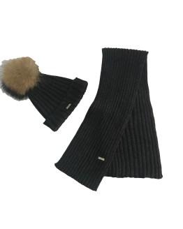 Ejemplo conjunto gorro y bufanda gris marengo