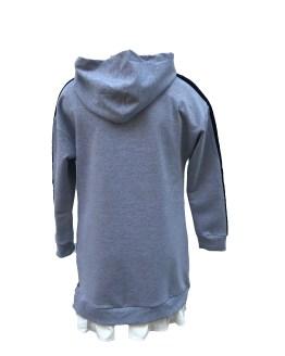 Espalda Monnalisa vestido felpa gris con logo en mangas
