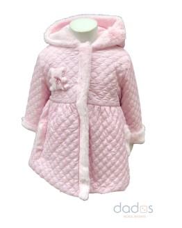 Coco Acqua abrigo acolchado rosa con pelo
