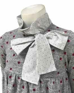 Coco Acqua vestido gris topos y lazos detalle