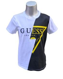Guess camiseta chico blanco, negro y amarillo