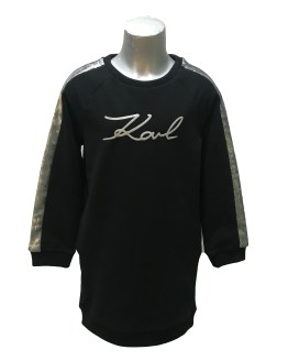 Karl Lagerfeld vestido negro manga plateada