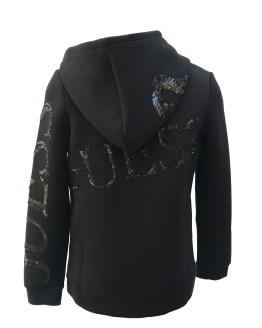 espalda Guess chaqueta negra capucha y lentejuelas