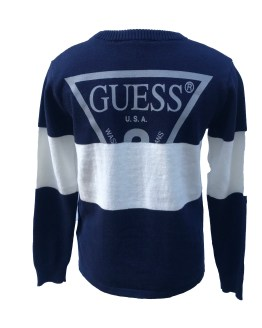 espalda Guess jersey chico azul con franja blanca