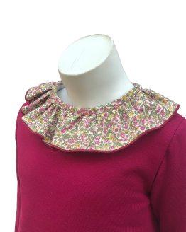 Detalle Baby Yiro vestido granate algodón cuello liberty