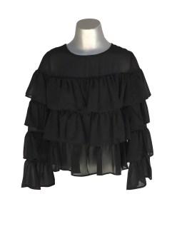 Jaimè blusa negra volantes en crepé