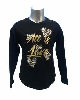 Elsy camiseta negra corazones animal print