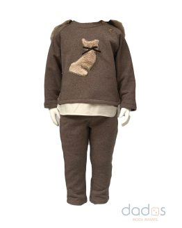 Coco Acqua conjunto niño marrón gato y capucha pelo