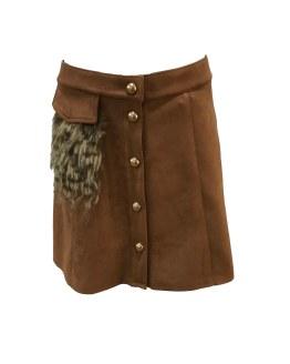 Custo Barcelona falda marrón con pelo