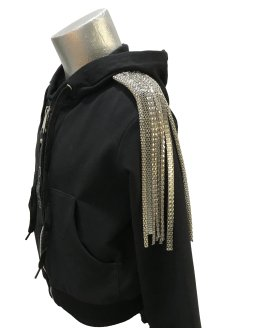 Custo Barcelona chaqueta negra con tiras plateadas vista