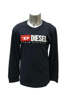 Diésel camiseta logo relieve manga larga marino