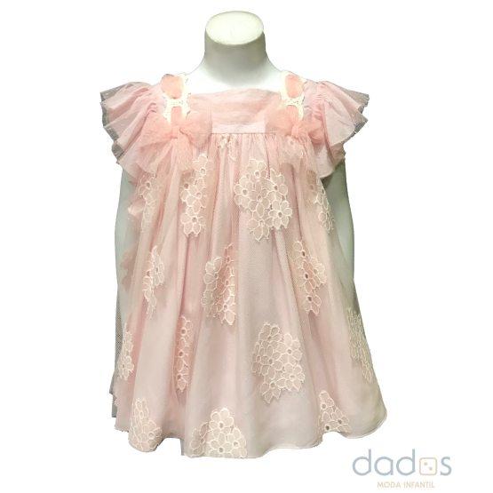 Dolce Petit vestido rosa tul con flores