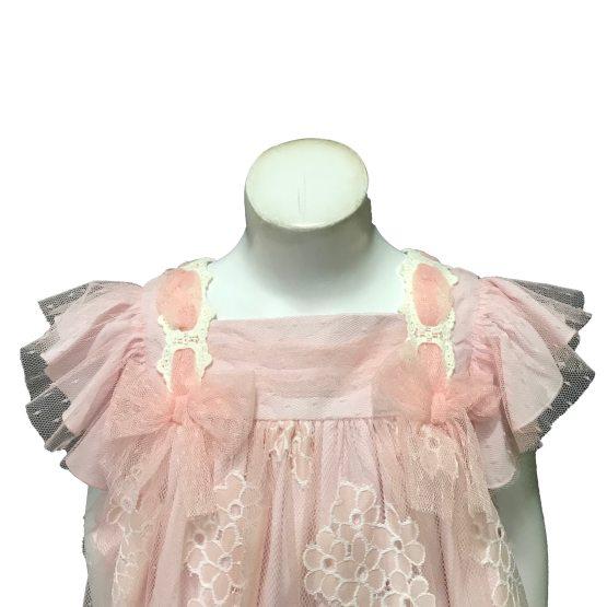 Dolce Petit vestido rosa tul con flores detalle