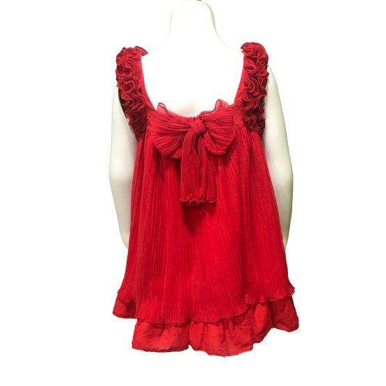 Dolce Petit vestido rojo vuelo vista espalda